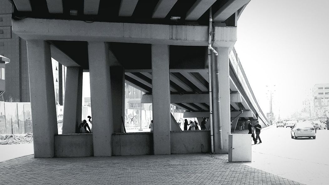 Bridge Under A Bridge People Black And White Noon Street Streetphotography