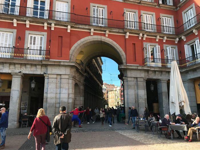 Plaza Mayor. Architecture Tourism Arch City People Outdoors Taking Photos Enjoying Life Madrid Cielo Azul IPhone 7 Plus