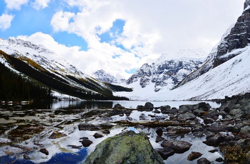 Consolation Lake Wanderlust Beauty In Nature Hikingadventures Canada Banff National Park  Panorama Panoramic Photography Banff  Icefields Parkway Kanada Nature Lake Fall Mountain Snow Water Sky Cloud - Sky Snowcapped Mountain Mountain Range Mountain Peak Lakeside Glacier Cold Temperature Rocky Mountains Snow Covered Snowcapped