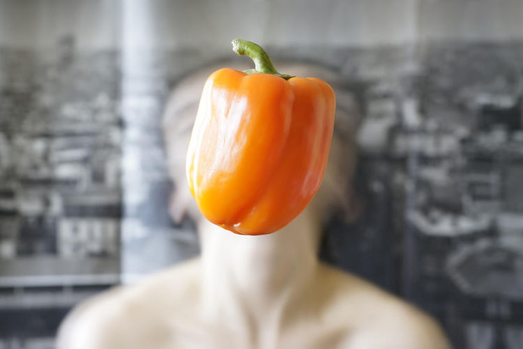 Close-up of orange bell peppers