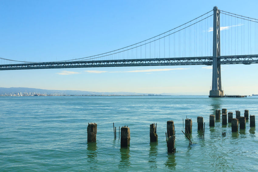 Bay Bridge, California Architecture Bay Bridge Beauty In Nature Bridge - Man Made Structure Built Structure California City Clear Sky Connection Day Engineering No People Outdoors Road Trip San Francisco Scenics Sea Sky Suspension Bridge Tourism Transportation Travel Travel Destinations Water