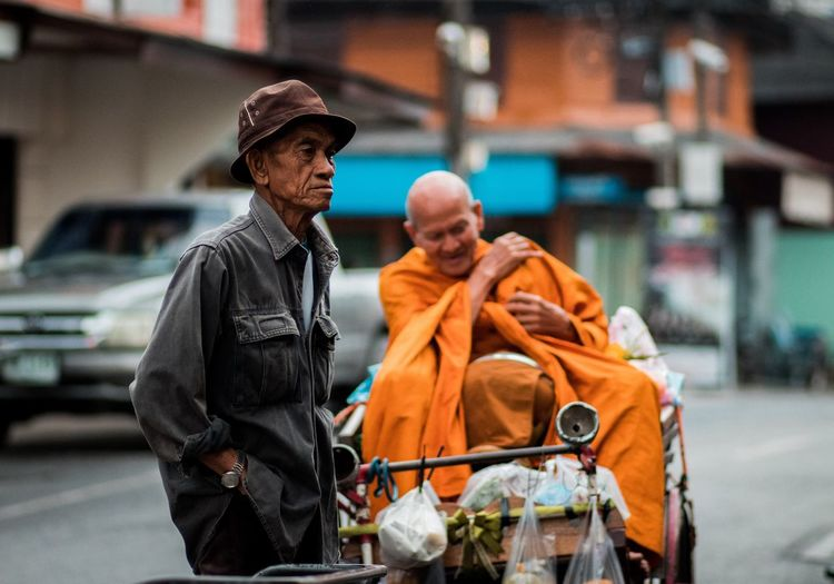 Monk Bhudha Monk  Clothing Adult Two People Men City Males  Hat Walking People Street Architecture Orange Color Focus On Foreground
