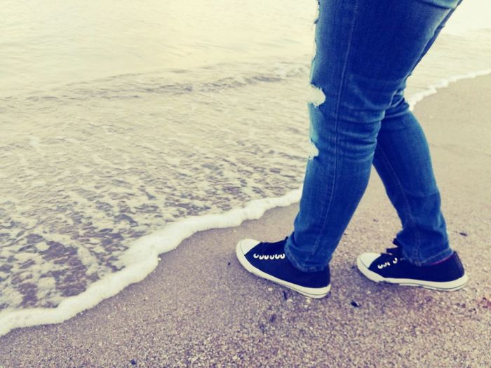 Sea And Sky Sea View Shoesinaline Beach Nature Low Section Standing Person Shoe Human Body Part Jeans One Person Sand Rolled Up Pants Water Beach Outdoors Real People Day Close-up Nature People One Man Only Horizontal Adult First Eyeem Photo