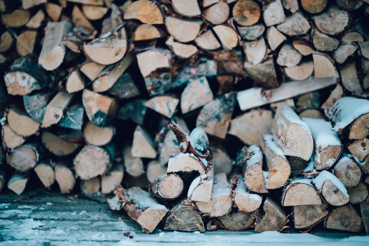 Full Frame Shot Of Logs