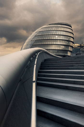 A picture of city hall and some steps at the Scoop at More London Amazing Beautiful City Cityscape Clouds Color Cool Effect Glass Landscape Light LINE London Orange Reflection Sky South Bank Southwark  Sunset Thames Tower Bridge