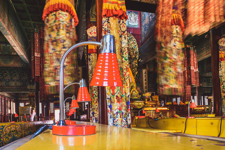 Red Lamps Colors Indoors  Multi Colored Religious  Table Temple Lama Temple