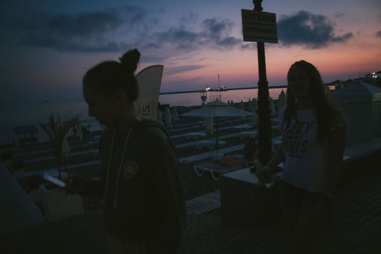 Sochi Russia Youth Seaside Silhouette Incidental People Sitting Outdoors Water Men Dusk Leisure Activity Standing Cloud - Sky People Lifestyles Adult Nature Women Real People Sunset Sky Be. Ready.