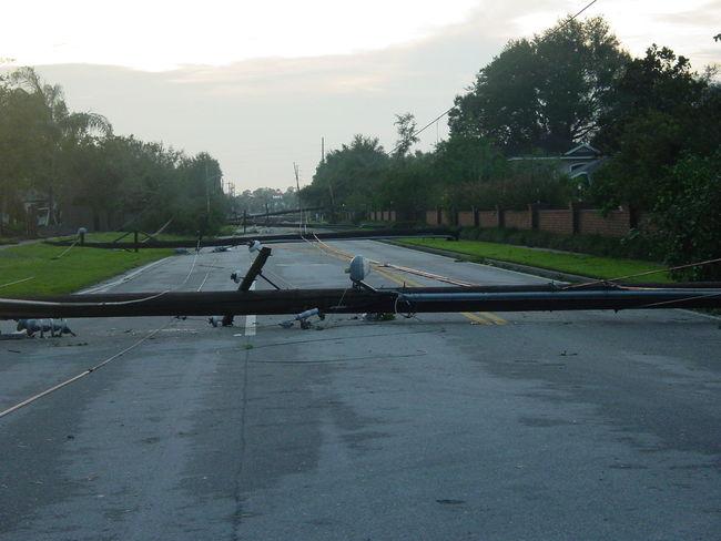 Hurricane Light Pole Outdoors Power Lines Road Storm Damage