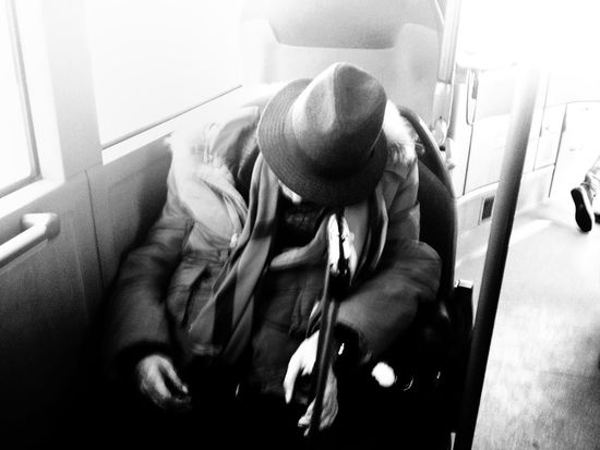 One man, relaxing moment. Sleeo is good! Sleeping Bus Public Transportation Streetphotography Black And White Blackandwhite Monochrome David De La Cruz