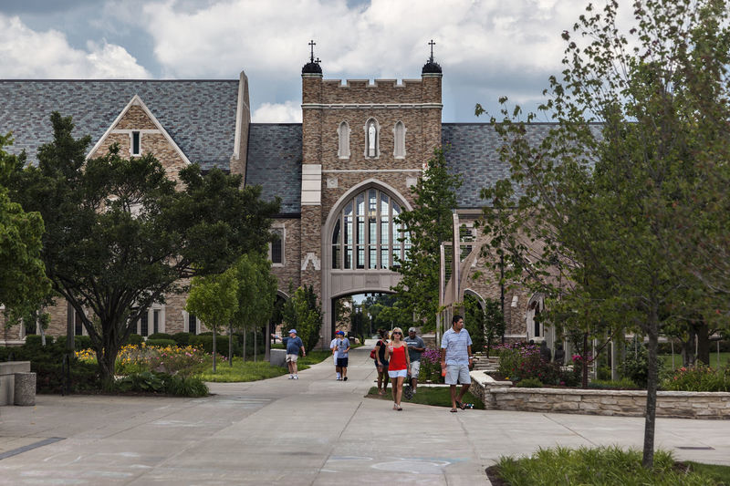 University of Notre Dame USA Outdoor Color Blue Sky Campus Christian Culture Education Knowledge Religion Science And Technology Campus Famous Sunny Day Horizontal Composition Teaching Building Tree University Of Notre Dame USA