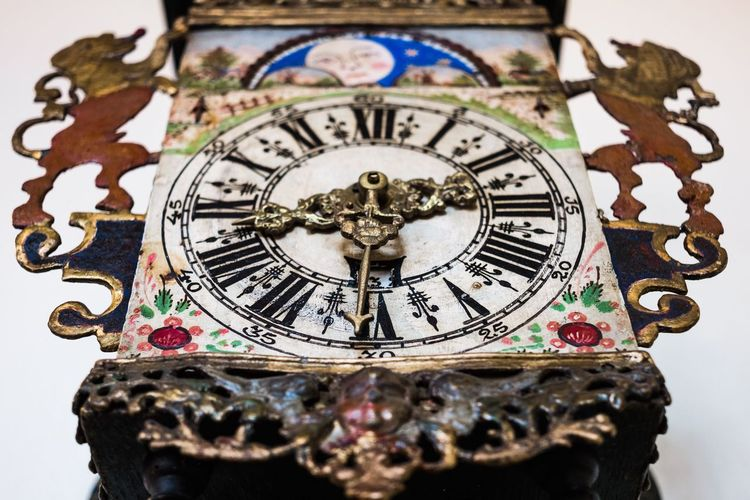Time Clock Minute Hand Close-up Clock Face Hour Hand Astrology Sign Instrument Of Time No People Windows Monument City Old Town Gouda Holland Townhall Indoors  Colourful Multi Colored Interior