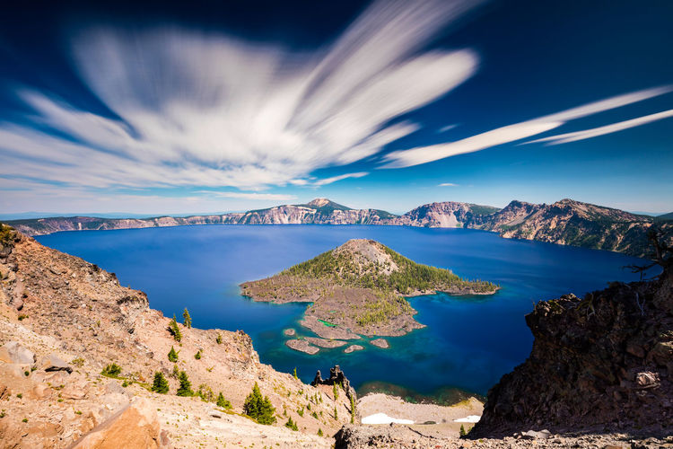 Long exposure at crater lake national park, oregon with some interesting clouds in motion.