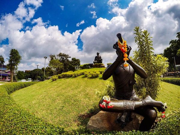 Cloud - Sky Outdoors No People Thailand Sky Human Representation Tree Statue Sculpture Day Growth Grass Architecture Nature The Great Outdoors - 2017 EyeEm Awards