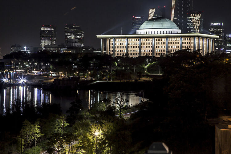 Dangsan Paliament House Night View Yeouido Night Light Han River River Yeouido Hangang Park Night Landscape