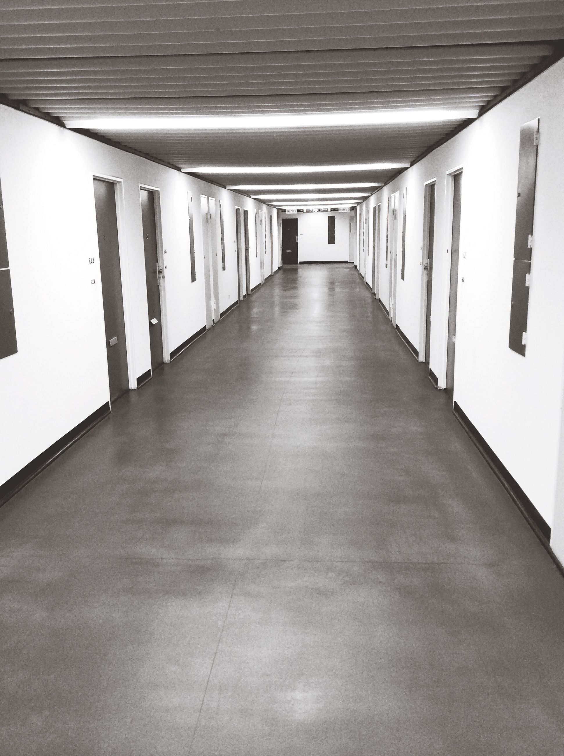 indoors, diminishing perspective, architecture, the way forward, built structure, ceiling, in a row, corridor, vanishing point, empty, long, absence, narrow, no people, architectural column, flooring, column, building, day, modern