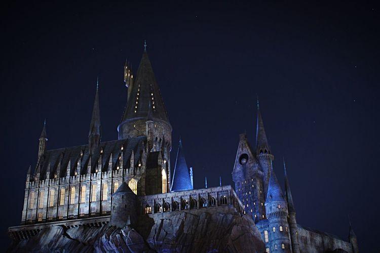 ホグワーツ城 Holiday Oosaka  USJ Castle Harry Potter Night Night Lights Night View