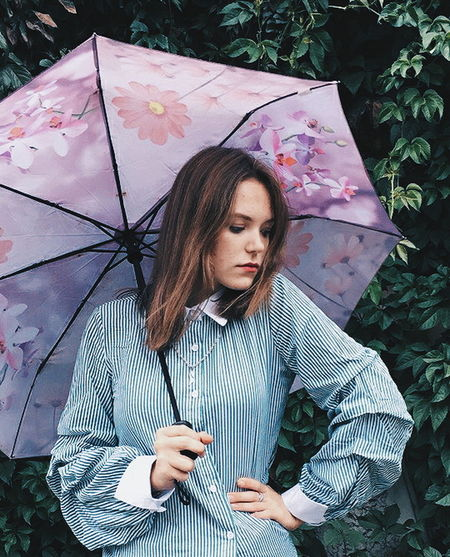 Young Women Beautiful People Wet Holding Protection Weather Rain Thunderstorm