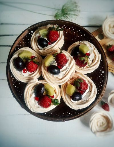 High angle view of pavlova served in plate on table