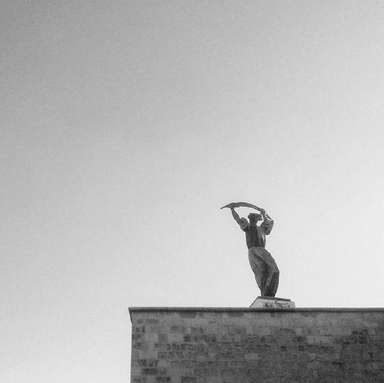 Budapest Citadella Hungary Bnwhungary Bnw_captures Statue Gellerthill Mik Bnw_globe Instaphoto Minimal Minimalism Jj_minimalism Mobilephotography Samsungphoto