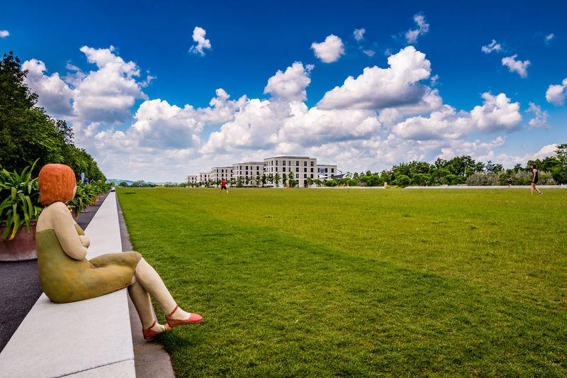 Landesgartenschau 2018 Würzburg Himmel Himmel Und Wolken Landesgartenschau Wolken Würzburg Building Exterior Built Structure Cloud - Sky Clouds Day Grass Green Color Kunst Kunstwerk Nature Outdoors Park Park - Man Made Space