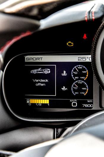 Car Interior Close-up Cockpit Convertible Dashboard Display Ferrari California T HS Retractable Roof