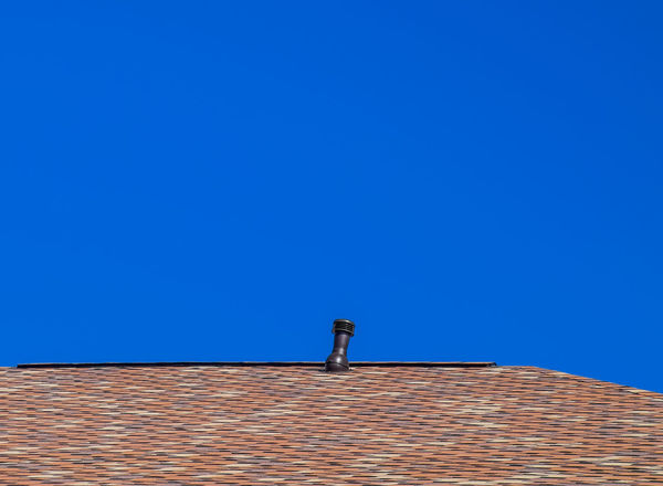 metal profile corrugated roof Architecture Blue Building Exterior Built Structure Chimney Clear Sky Day Low Angle View Metal Profile Corrugated Roof No People Outdoors Roof Sky Tiled Roof