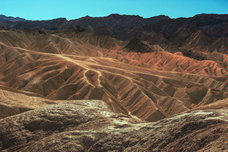 Aerial view of arid landscape against sky, death valley
