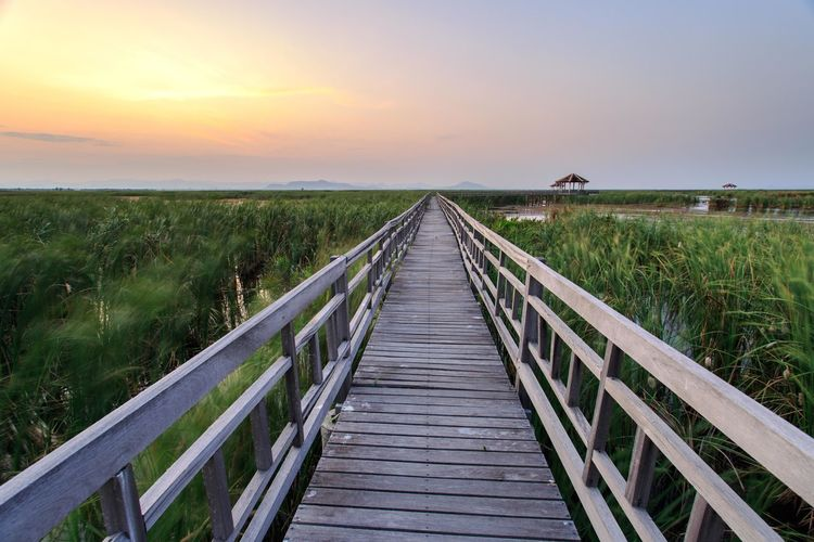 Wooden boardwalk amidst field against sky during sunset
