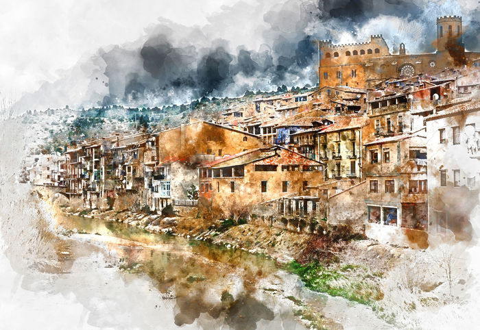 Digital watercolor painting of Valderrobres village, known as one of the most beautiful village in Spain Building Exterior Castle Day Digital Art Digital Watercolor Digital Watercolor Painting Digitally Generated Image Europe Famous Place Fort Fortress History Landmark Landscape Matarranya Nature Outdoors Residential Building SPAIN Town TOWNSCAPE Travel Destinations Valderrobres Village Watercolor