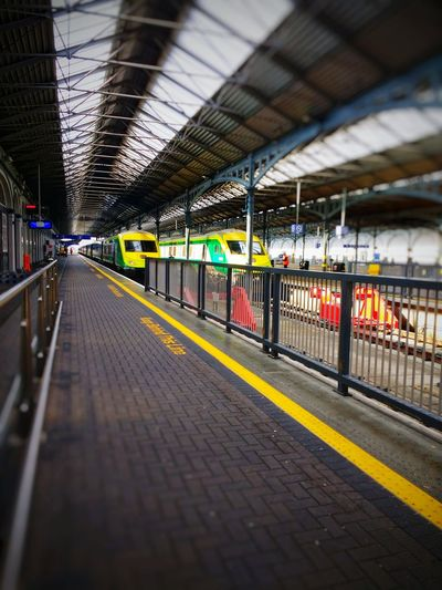 Architecture No People Indoors  Day City Architecture Travel Destinations Train Station Platform Public Transportation Paint The Town Yellow Dublin Heuston Ireland An Eye For Travel