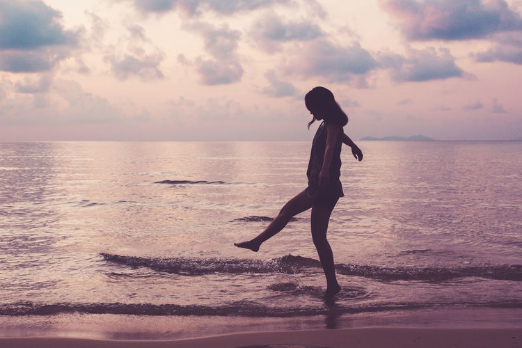 Woman Beach Beauty In Nature Day Full Length Girl Horizon Over Water Leisure Activity Lifestyles Mix Yourself A Good Time Nature One Person Outdoors People Real People Scenics Sea Silhouette Sky Standing Sunset Tranquil Scene Tranquility Water Young Adult