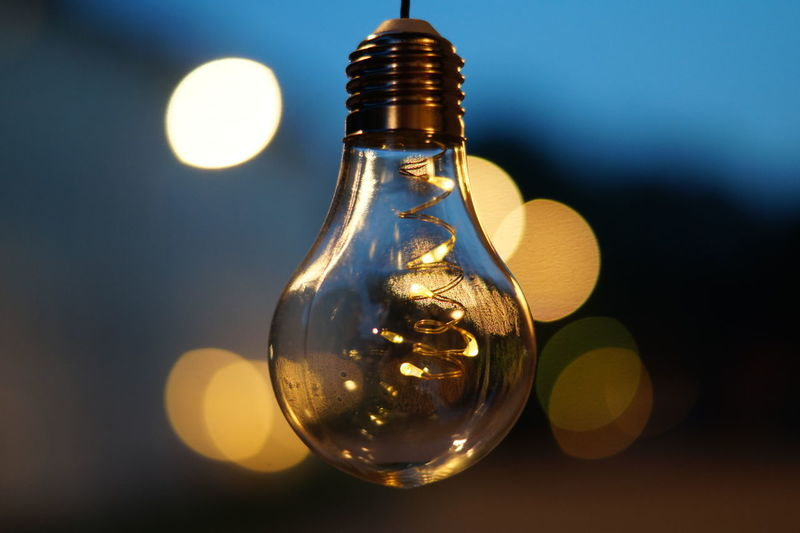 Close-up of illuminated bottle