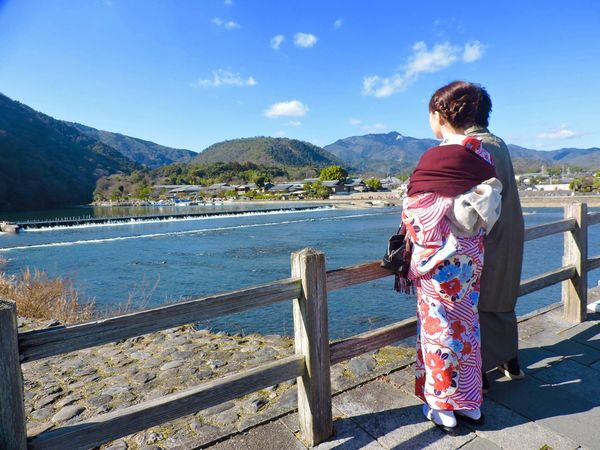Full Length Rear View Real People Sky Beauty In Nature Lifestyles One Person Scenics Mountain Standing Outdoors Leisure Activity Day Traditional Clothing Mountain Range Nature Water Lake Women Cloud - Sky Arashiyama Arashiyama Bamboo Grove Kyoto Kimono Japanculture EyeEmNewHere Millennial Pink