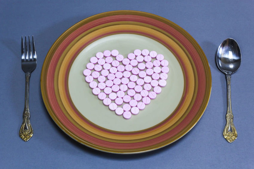 Heart pills for health Antibiotic Aboratory Care Chemical Concept Fork Healthcare And Medicine Heart Illness Love ♥ Medical Medicament Medicien Phamaceutical Phamacy Pill Plate Science Sickness Spoon
