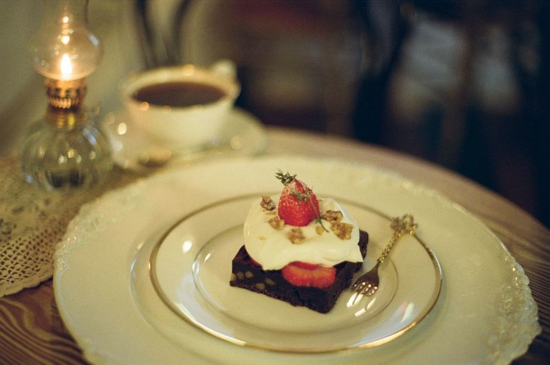 Cafe Coffee Brownie Dessert Wineglass Plate Dessert Luxury Fruit Table Cake Drinking Glass Close-up Sweet Food