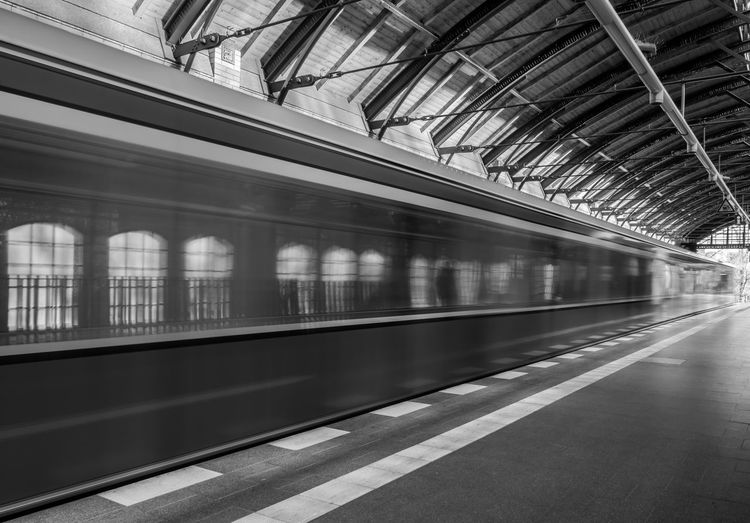 Architecture B&w Berlin Photography Berliner Ansichten Black And White Blurred Motion Built Structure Day Indoors  No People Public Transportation Railroad Station Railroad Station Platform S-bahn S-bahnhof Speed Subway Train Train - Vehicle Transportation Urban Exploration Welcome To Black