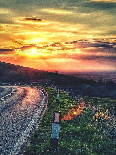 Sunset on the Cat And Fiddle Road Cheshire Derbyshire United Kingdom Sunsetporn Peak District  Redskyatnight EyeEm Sunsets