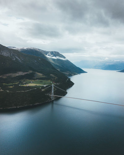 Adventure Club Drone  Nature Nature Photography Adventure Beauty In Nature Birds Eye View Bridge Bridge - Man Made Structure Day Fjord Mountain Nature Nature_collection Naturelovers No People Outdoor Outdoor Photography Outdoors Scenics Sea Sky Tranquil Scene Tranquility Water