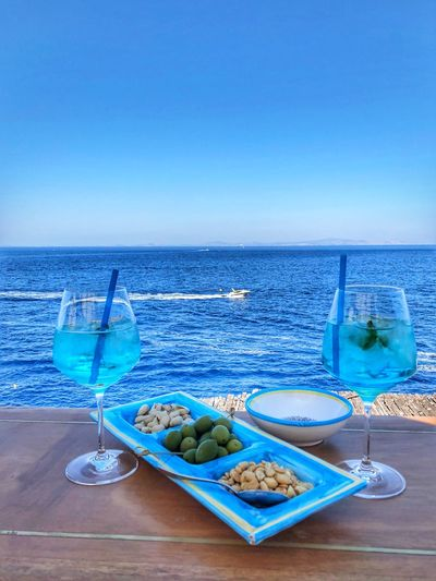 Cocktail Sea Water Sky Blue Horizon Over Water Food And Drink Horizon Food
