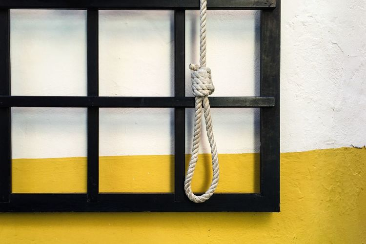 Close-up of rope noose against wall