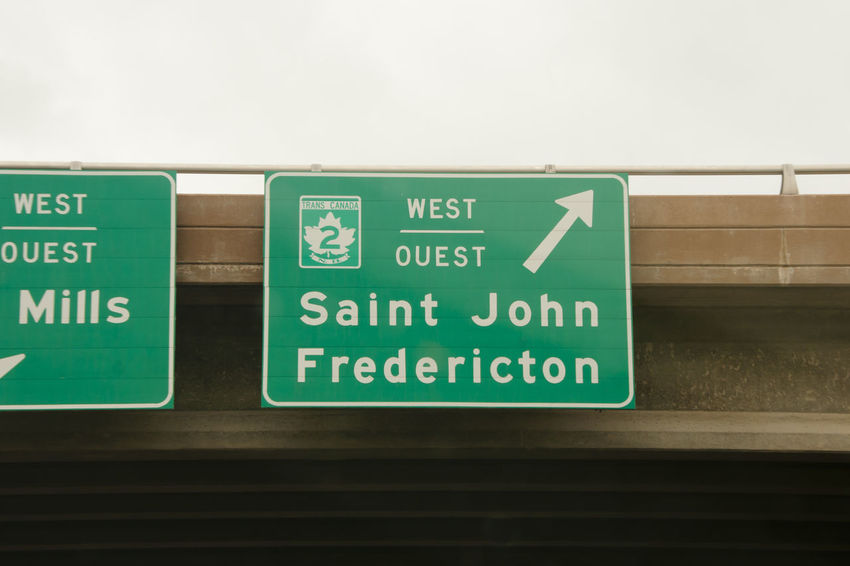 Saint John & Fredericton Road Sign Fredericton Canada Green Color Road Sign Saint John