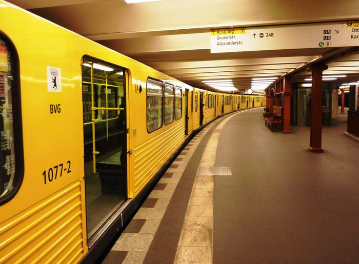 Berlin City Life Eurotrip Funky Town  Germany Platform Train Transportation Travel Photography Yellow Train Q Quick Train Is Leaving Q My Commute Capture Berlin Travel Destinations