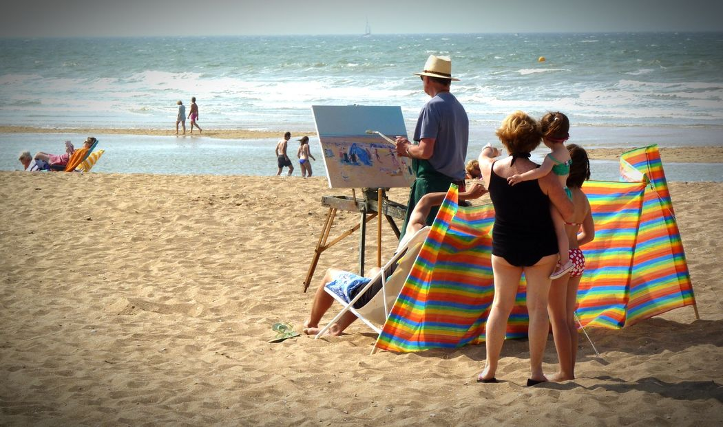 Landscape Beach On The Beach Seaside Painting Art Is Everywhere Normandy Beach Photography Beach Life Painting In Progress
