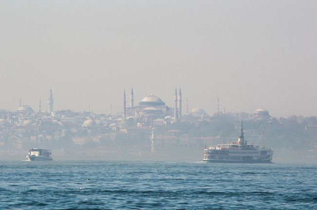 Nautical Vessel Transportation Sea Water Travel Destinations Sailing No People Outdoors Sky Nature City Ferris Wheel Day Fog Architecture Cityscape Sailboat Mosque Istanbul Turkey