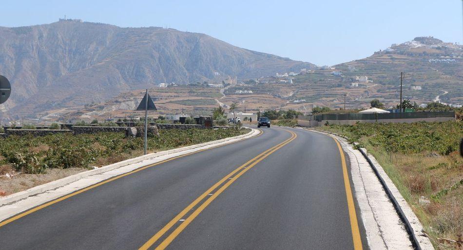 Street Mountain Road Mountain Range Transportation Landscape Outdoors Nature Beauty In Nature Santorini Greece