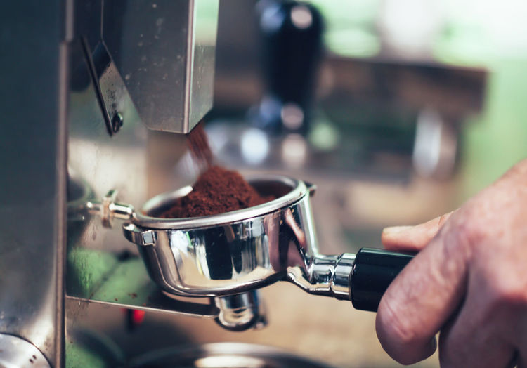 Appliance Close-up Coffee Coffee - Drink Coffee Maker Coffee Mill Drink Finger Focus On Foreground Food Food And Drink Hand Holding Human Body Part Human Hand Indoors  Machinery Men Mill One Person Preparation  Preparing Food Real People