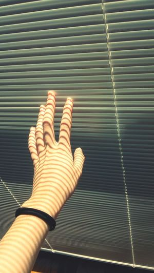 Close-Up Of Woman Touching Blinds