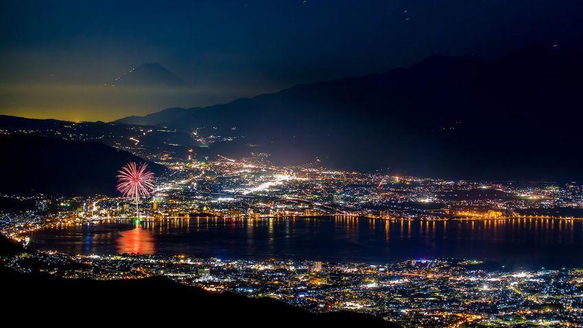 Fireworks Lake Landscape Nightscape Suwa Lake Fujisan
