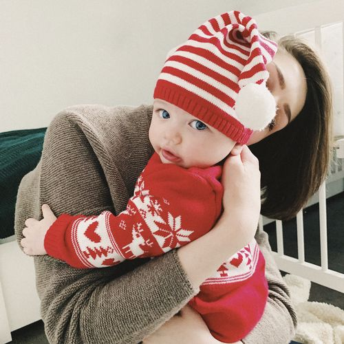 Child Childhood Real People Baby Young Red Cute Babyhood Toddler  Innocence Indoors  Clothing Lifestyles Portrait Hat Warm Clothing Christmas Baby Baby Clothing Mother And Son Mother And Child Blue Eyes Holding A Baby