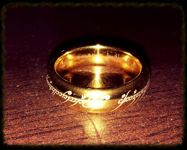 Close-up Gold Colored Shiny The One Ring LOTR Ring Jewellery